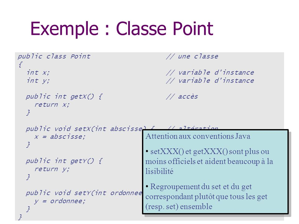 Exemple : Classe Point Attention aux conventions Java