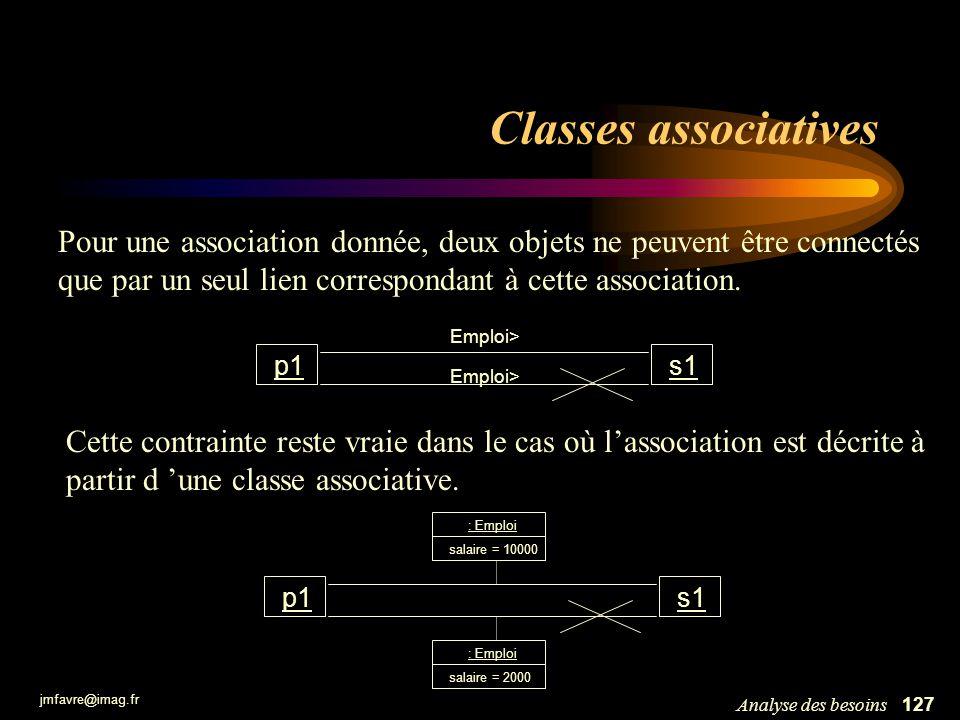 Classes associatives Pour une association donnée, deux objets ne peuvent être connectés que par un seul lien correspondant à cette association.