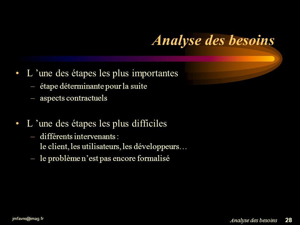 Analyse des besoins L 'une des étapes les plus importantes