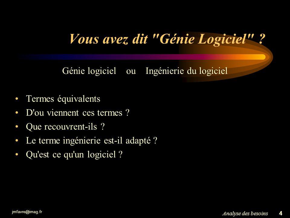 Vous avez dit Génie Logiciel