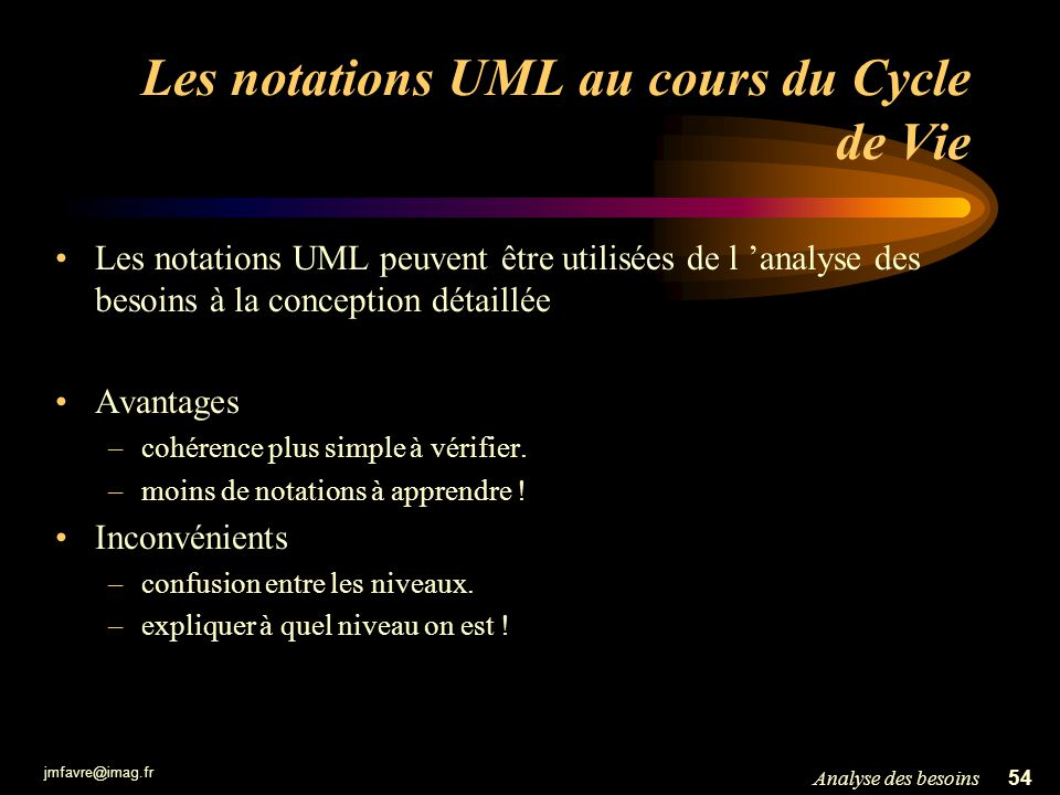 Les notations UML au cours du Cycle de Vie