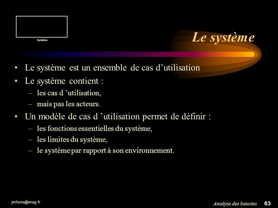 Le système Le système est un ensemble de cas d'utilisation