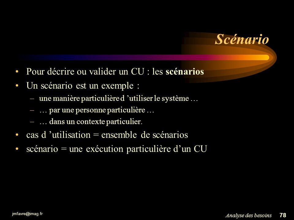 Scénario Pour décrire ou valider un CU : les scénarios