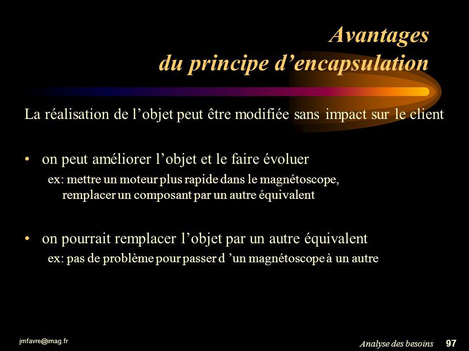 Avantages du principe d'encapsulation