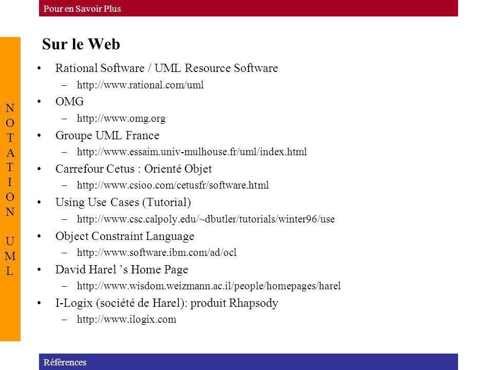 Sur le Web Rational Software / UML Resource Software NOTATION UML OMG