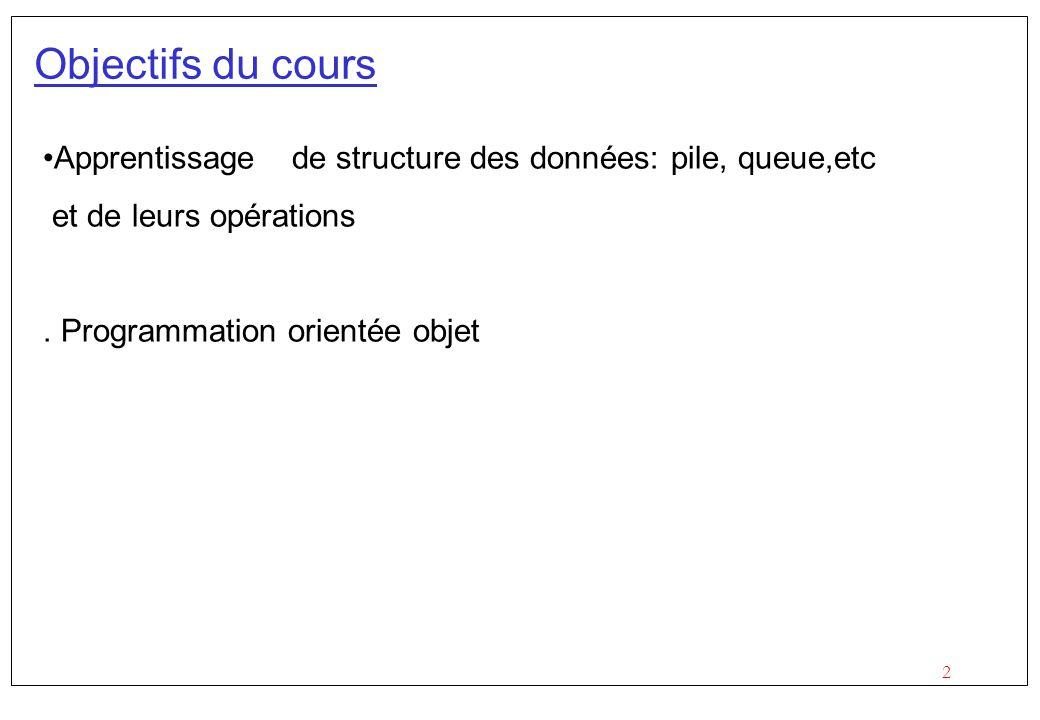 Objectifs du cours Apprentissage de structure des données: pile, queue,etc. et de leurs opérations.
