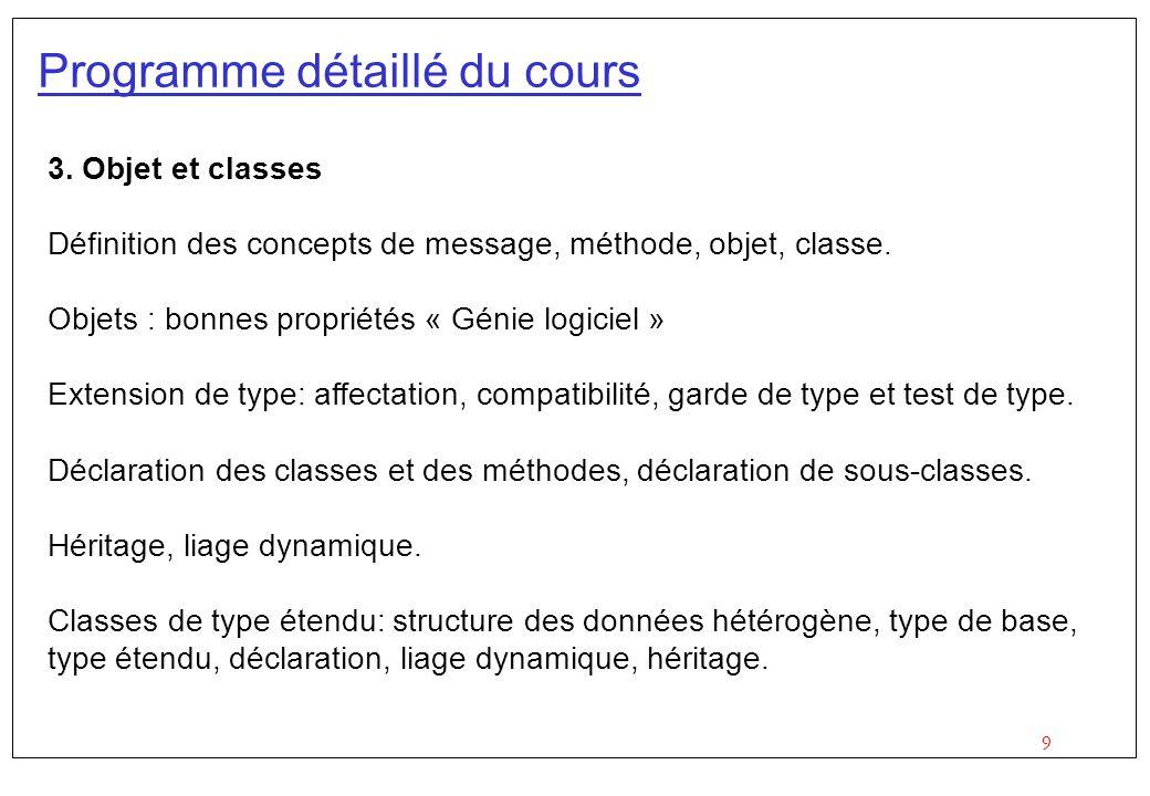 Programme détaillé du cours