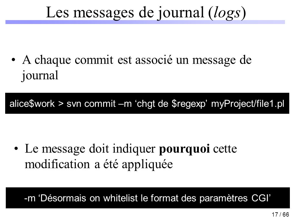 Les messages de journal (logs)