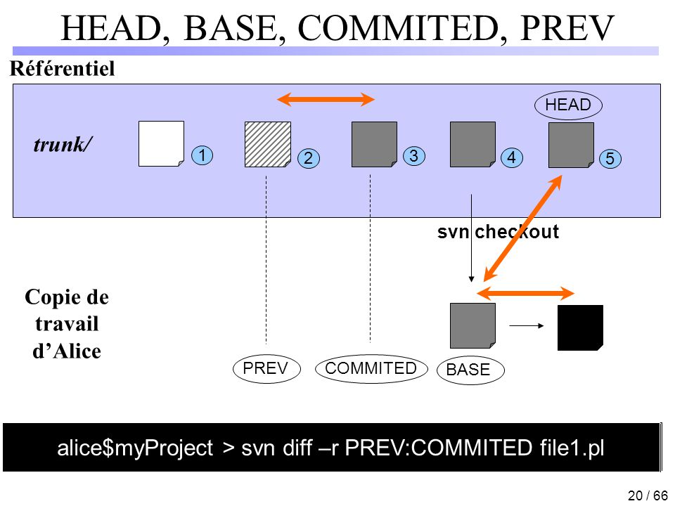 HEAD, BASE, COMMITED, PREV