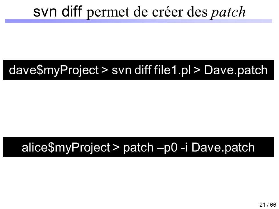 svn diff permet de créer des patch