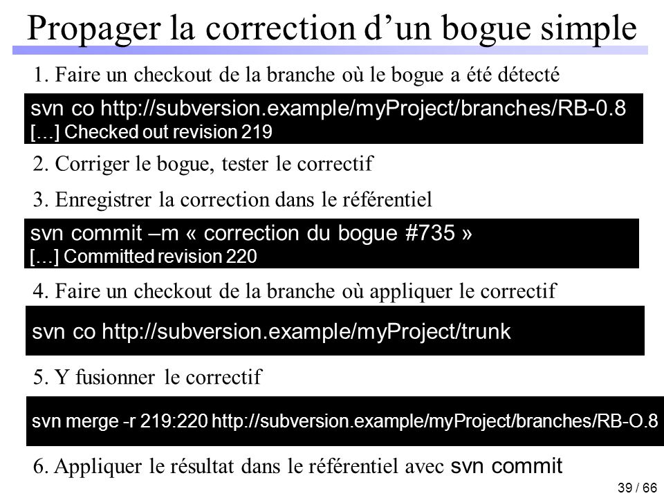 Propager la correction d'un bogue simple