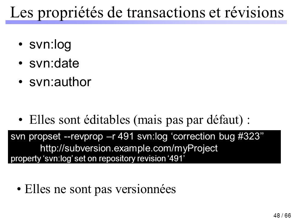 Les propriétés de transactions et révisions