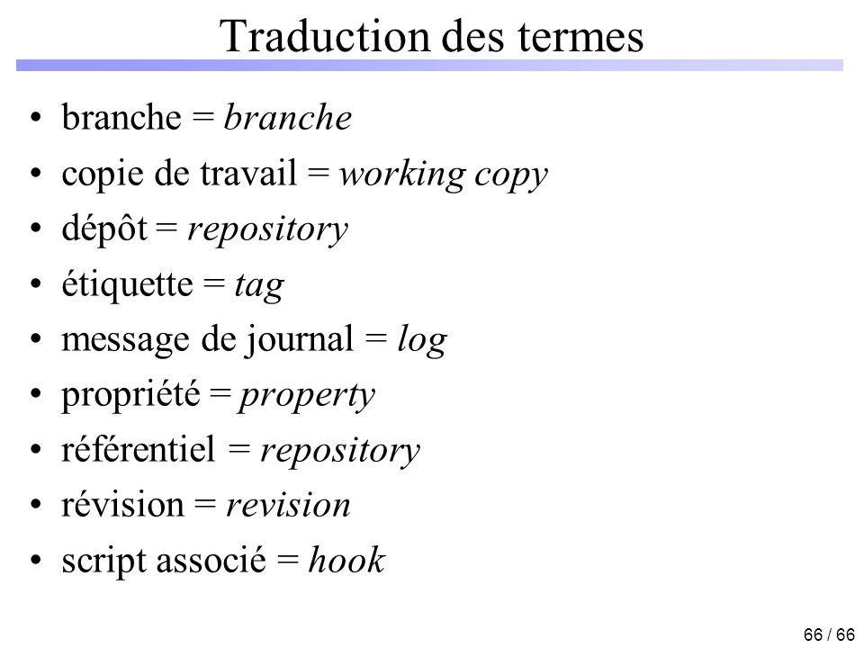 Traduction des termes branche = branche