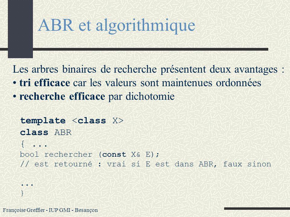 ABR et algorithmique Les arbres binaires de recherche présentent deux avantages : tri efficace car les valeurs sont maintenues ordonnées.
