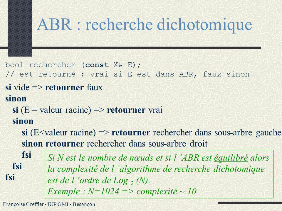 ABR : recherche dichotomique