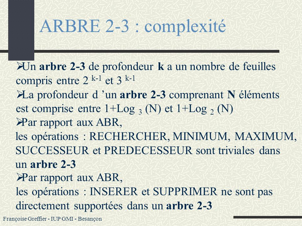 ARBRE 2-3 : complexité Un arbre 2-3 de profondeur k a un nombre de feuilles. compris entre 2 k-1 et 3 k-1.