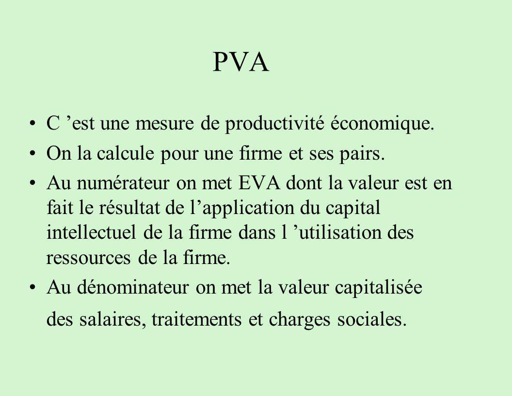 PVA C 'est une mesure de productivité économique.
