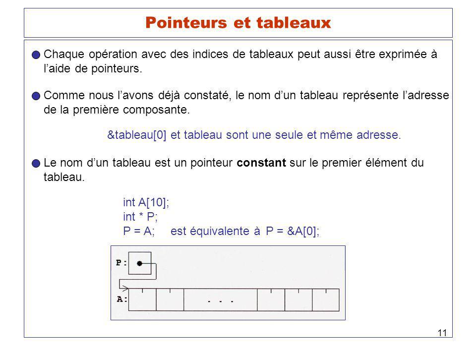 Pointeurs et tableaux Chaque opération avec des indices de tableaux peut aussi être exprimée à. l'aide de pointeurs.