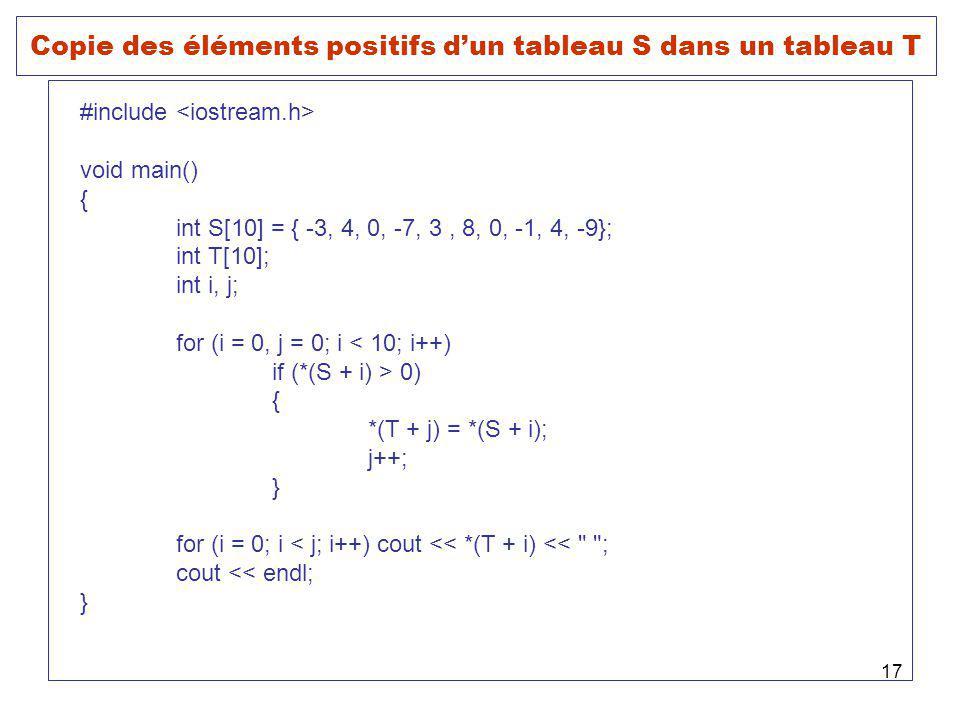 Copie des éléments positifs d'un tableau S dans un tableau T