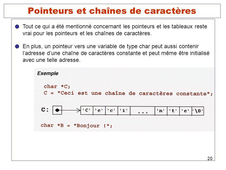 Pointeurs et chaînes de caractères