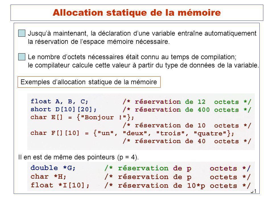 Allocation statique de la mémoire