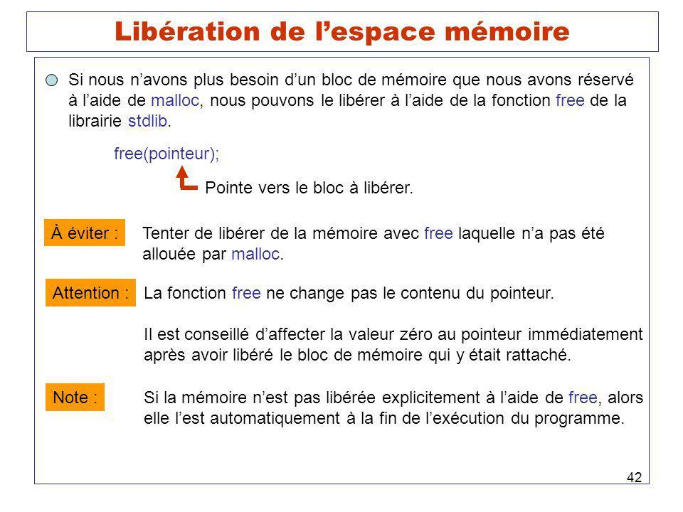Libération de l'espace mémoire
