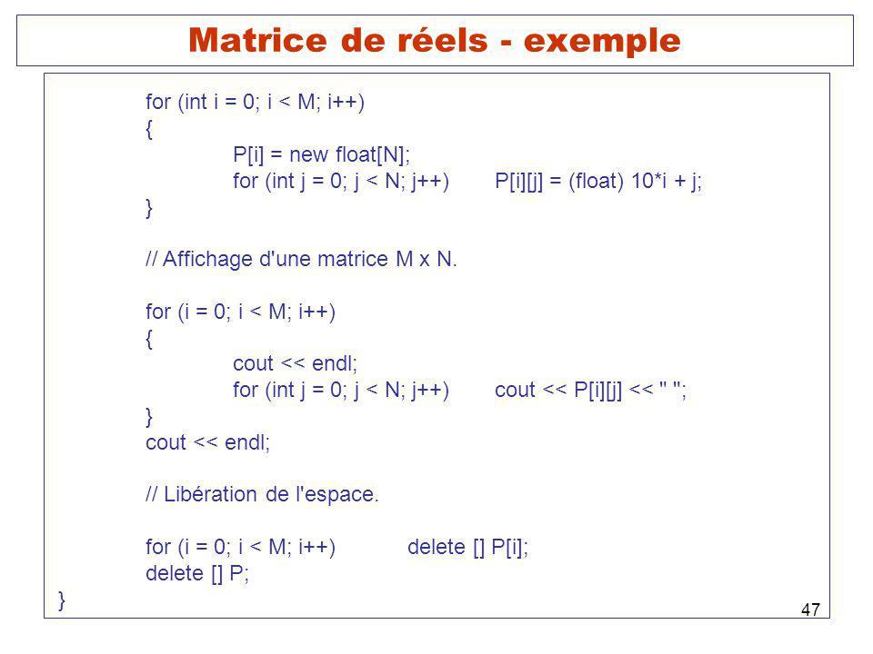 Matrice de réels - exemple