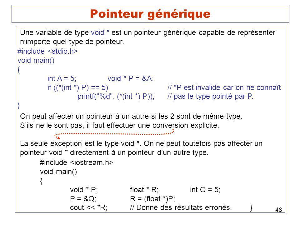 Pointeur générique Une variable de type void * est un pointeur générique capable de représenter. n'importe quel type de pointeur.