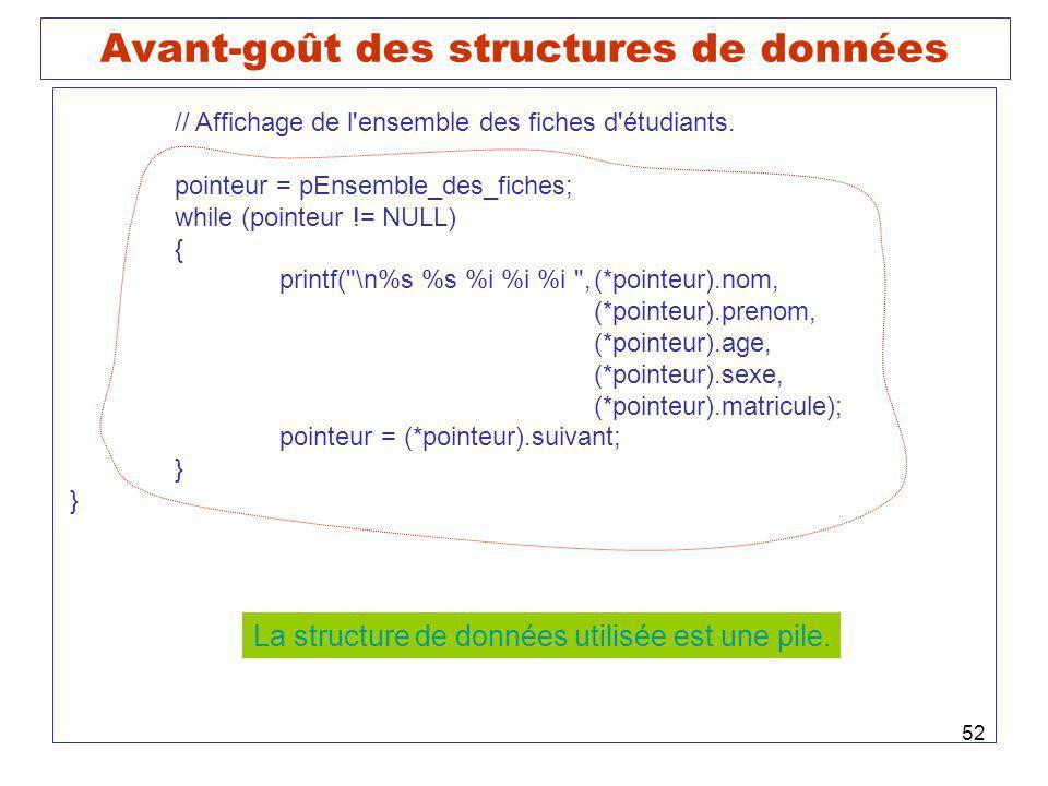 Avant-goût des structures de données
