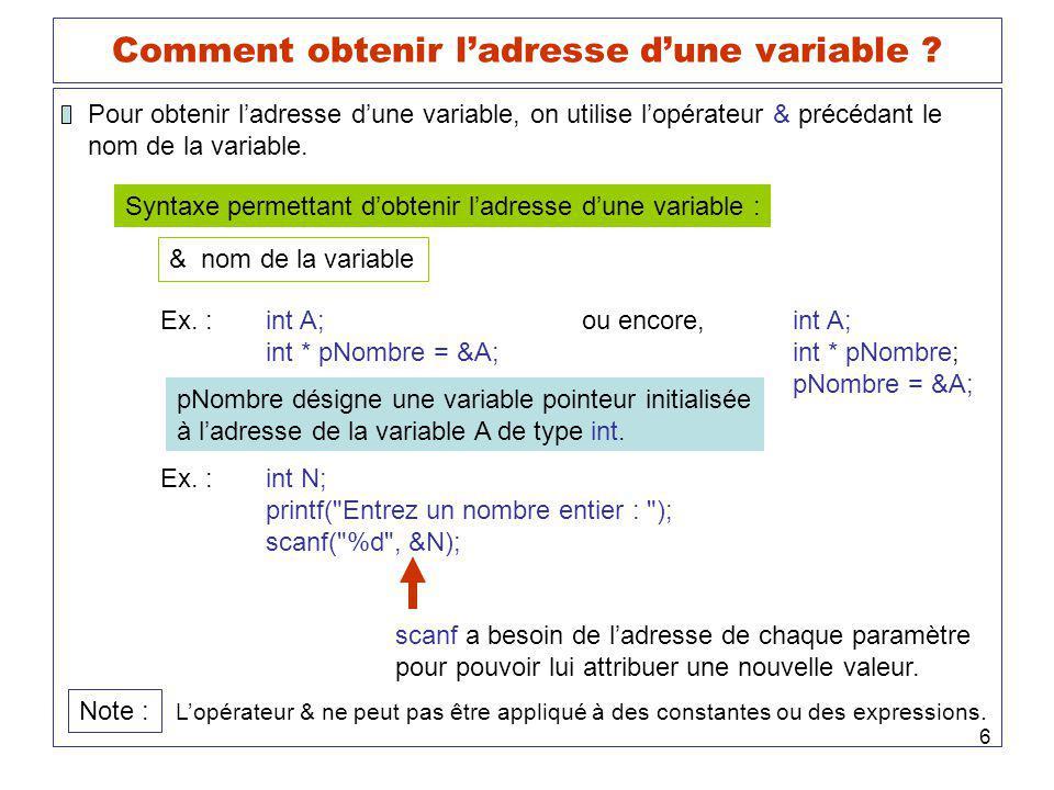Comment obtenir l'adresse d'une variable