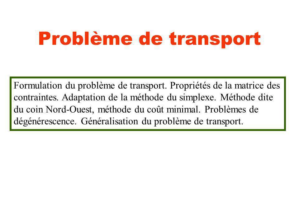 Problème de transport Formulation du problème de transport. Propriétés de la matrice des.