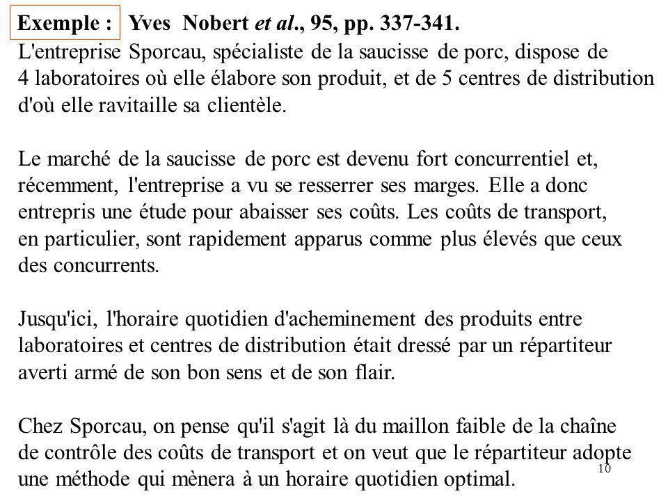 Exemple : Yves Nobert et al., 95, pp. 337-341. L entreprise Sporcau, spécialiste de la saucisse de porc, dispose de.