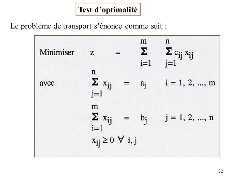 Test d'optimalité Le problème de transport s'énonce comme suit :