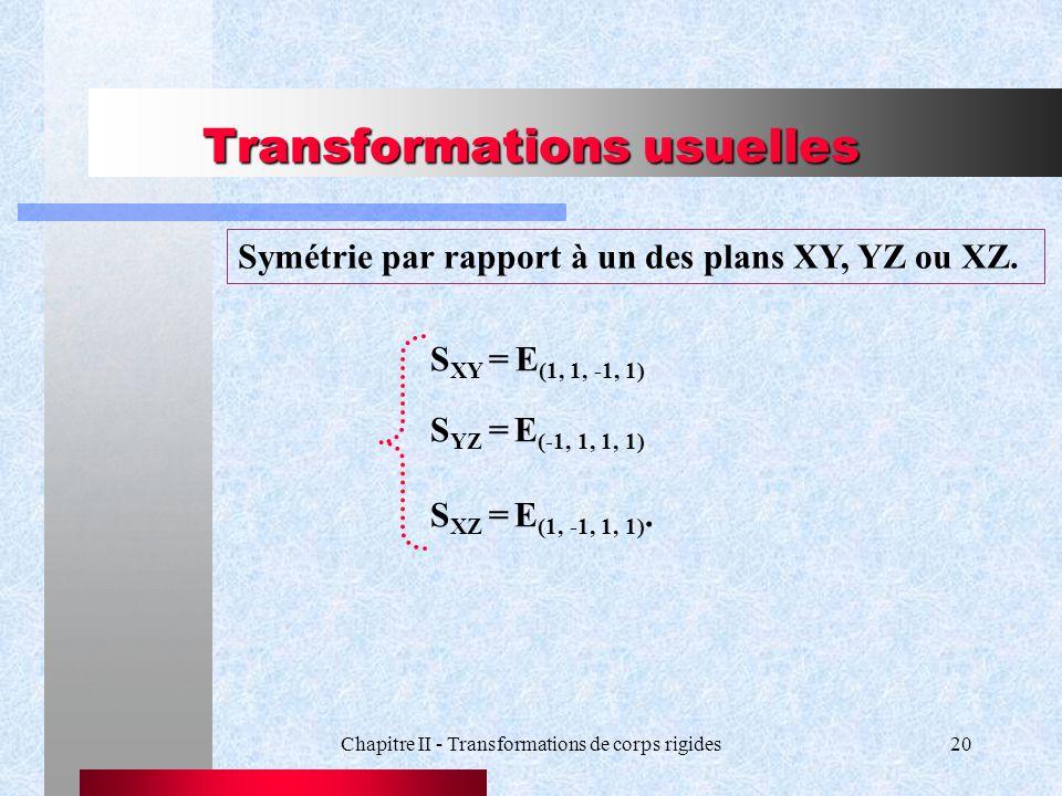 Transformations usuelles