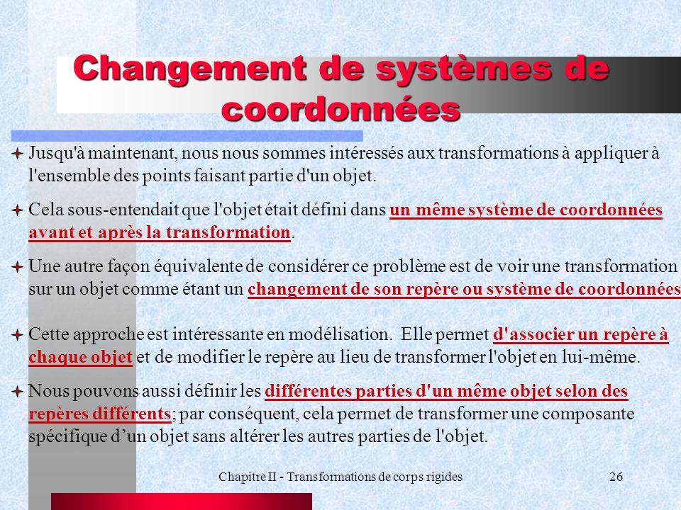 Changement de systèmes de coordonnées