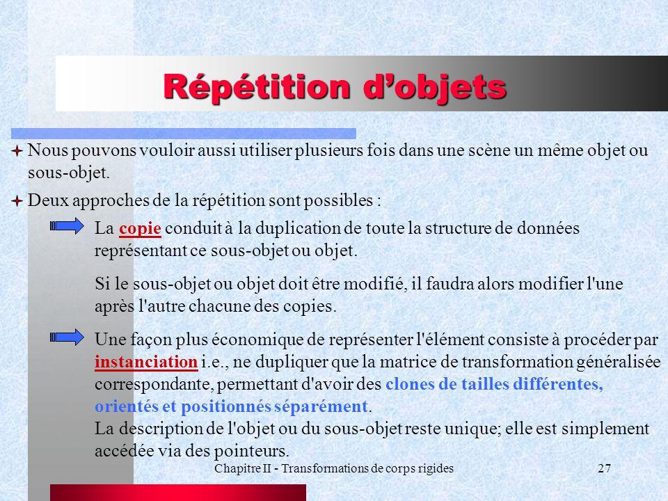 Chapitre II - Transformations de corps rigides