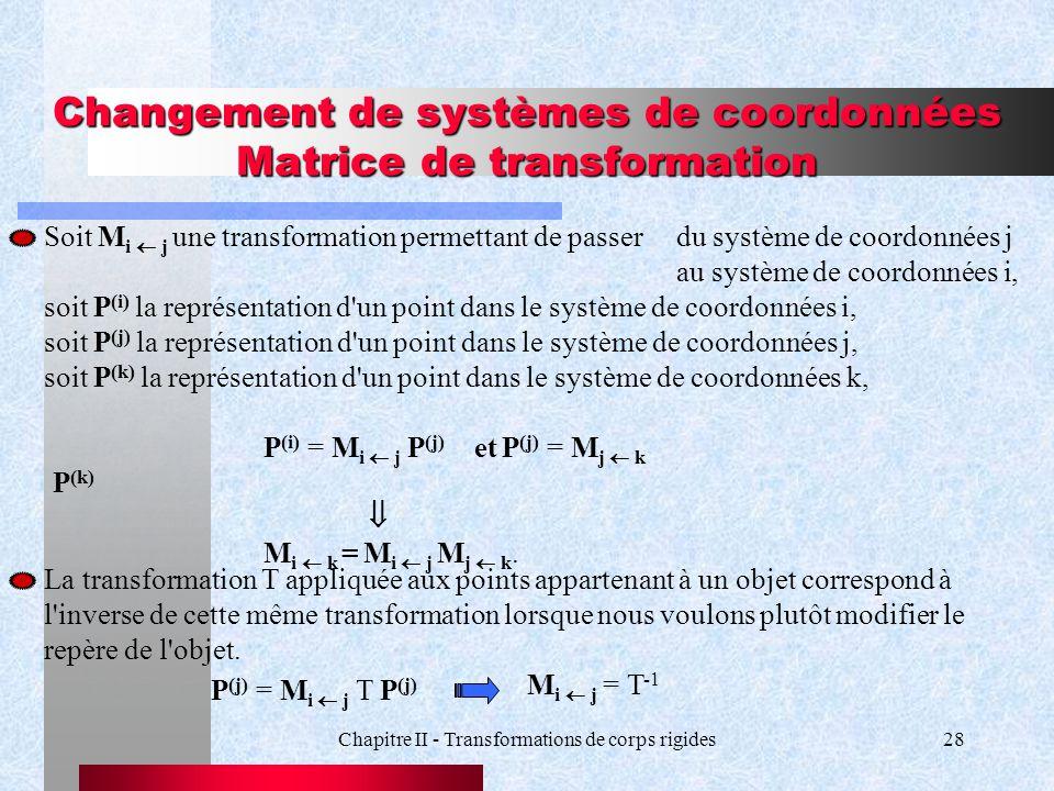 Changement de systèmes de coordonnées Matrice de transformation