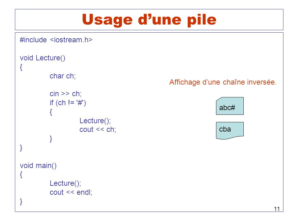 Usage d'une pile #include <iostream.h> void Lecture() { char ch;