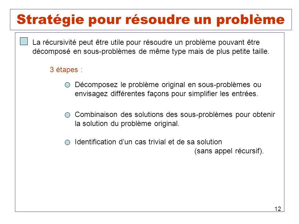 Stratégie pour résoudre un problème