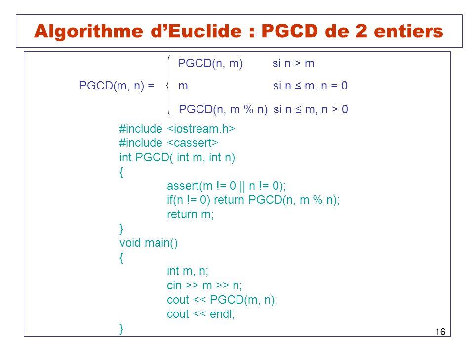 Algorithme d'Euclide : PGCD de 2 entiers