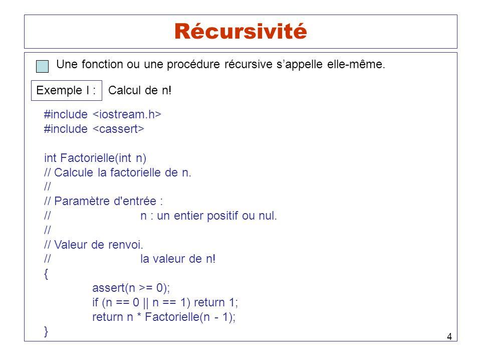 Récursivité Une fonction ou une procédure récursive s'appelle elle-même. Exemple I : Calcul de n!