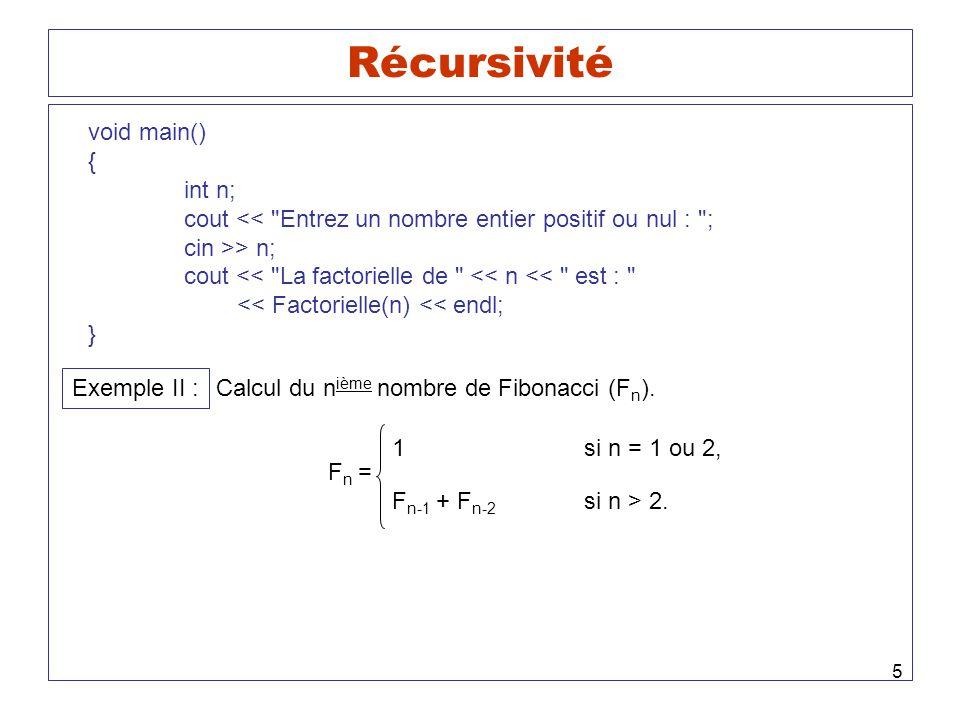 Récursivité void main() { int n;