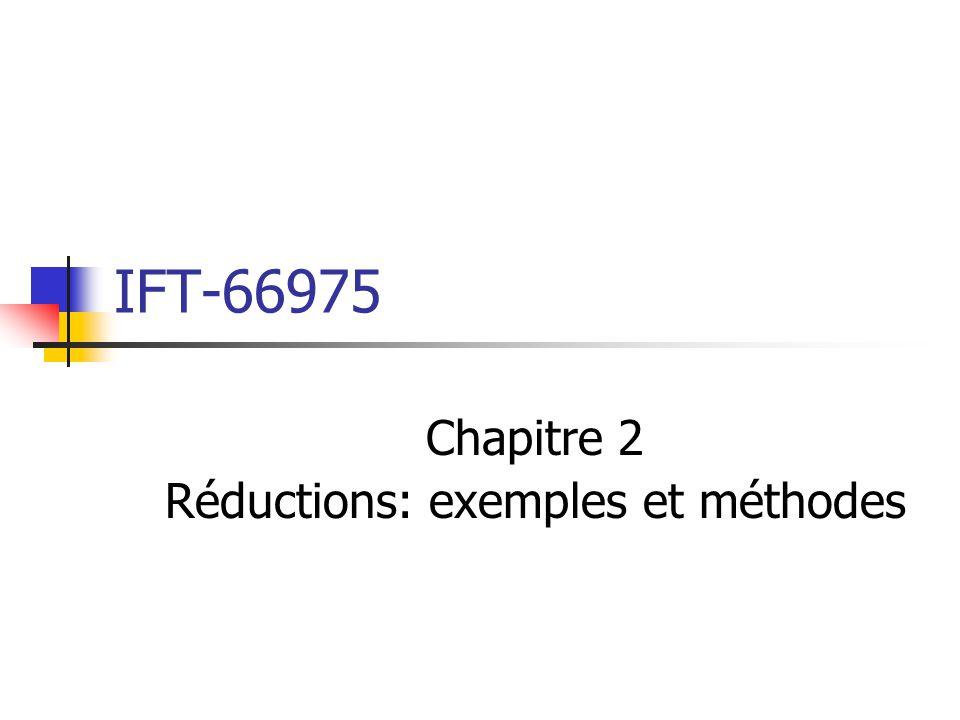Chapitre 2 Réductions: exemples et méthodes