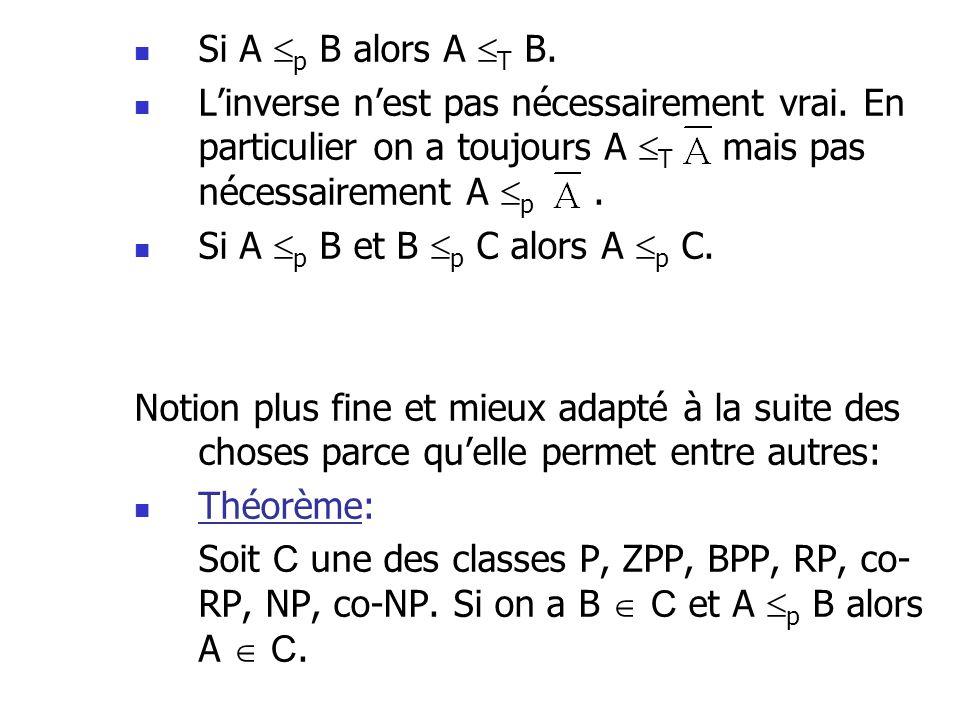 Si A p B alors A T B. L'inverse n'est pas nécessairement vrai. En particulier on a toujours A T mais pas nécessairement A p .