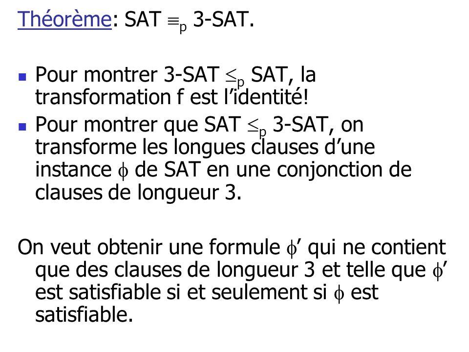 Théorème: SAT p 3-SAT. Pour montrer 3-SAT p SAT, la transformation f est l'identité!