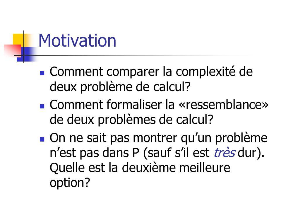 Motivation Comment comparer la complexité de deux problème de calcul