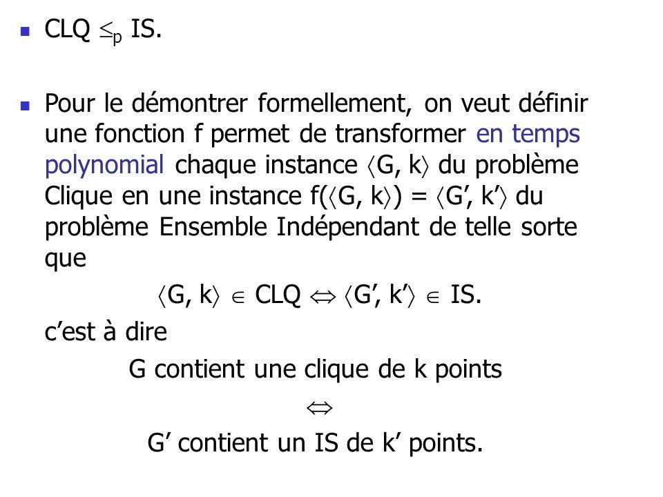 G contient une clique de k points  G' contient un IS de k' points.