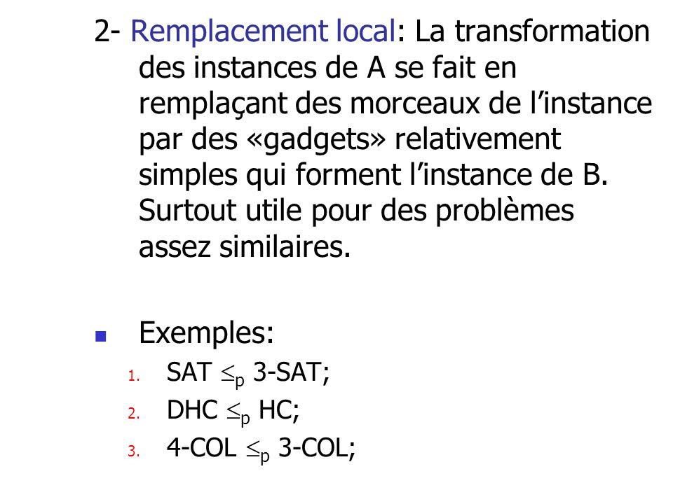 2- Remplacement local: La transformation des instances de A se fait en remplaçant des morceaux de l'instance par des «gadgets» relativement simples qui forment l'instance de B. Surtout utile pour des problèmes assez similaires.