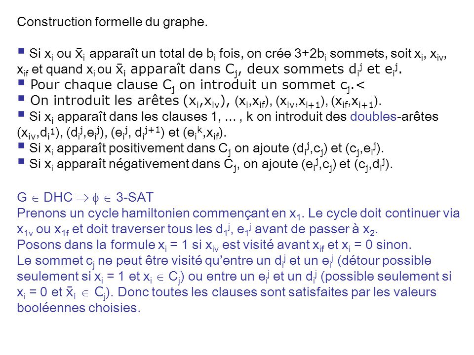 Construction formelle du graphe.