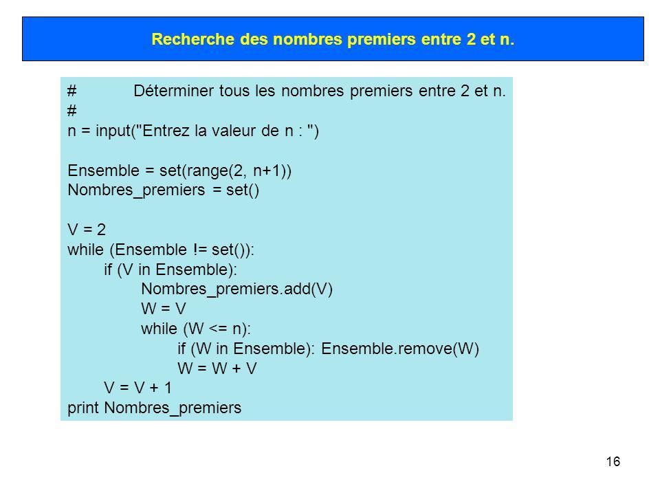 Recherche des nombres premiers entre 2 et n.